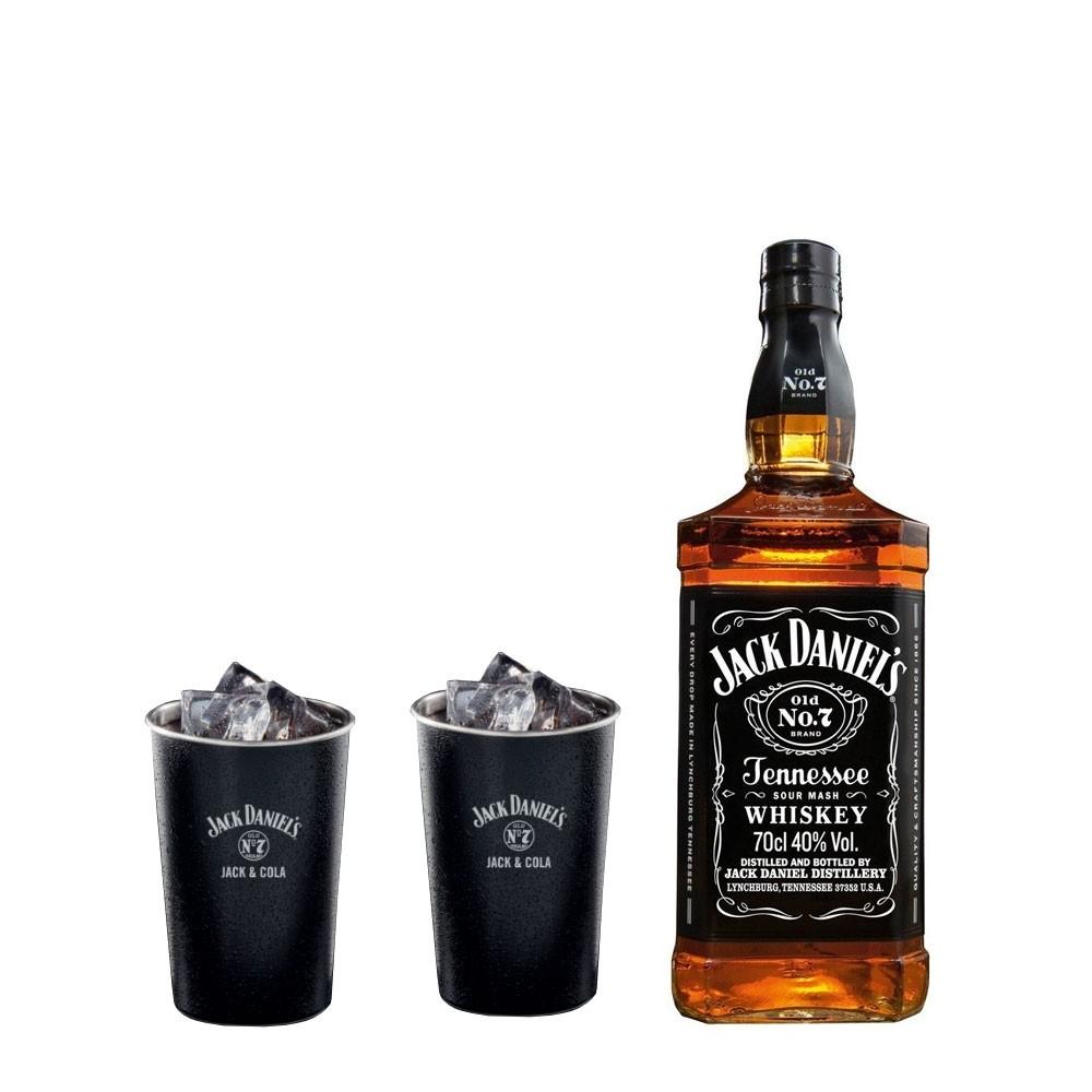 jack daniel 39 s tennessee old no 7 geschenk set mit 2 jack cola metal becher whisky online. Black Bedroom Furniture Sets. Home Design Ideas