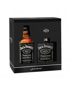 Jack Daniels OLD NO. 7 Geschenkkarton mit Flachmann (Hip Flask)